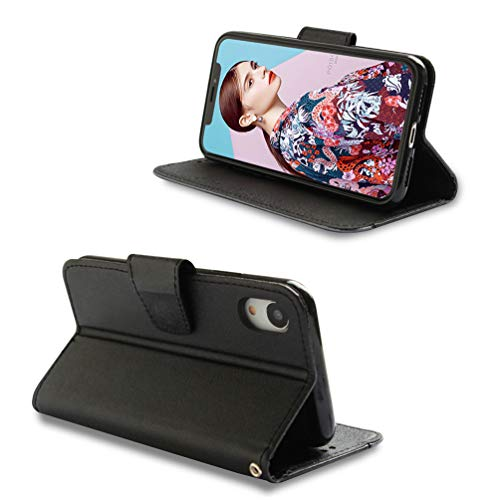 Coque iPhone XR 6.1 Pouces, Housse en Cuir LaVibe PU Leather à Rabat Emplacement pour Cartes Multiples Clapet 3D Splice Design, UV Imprimer Appareil Photo Protection Cover –Noir + Gris