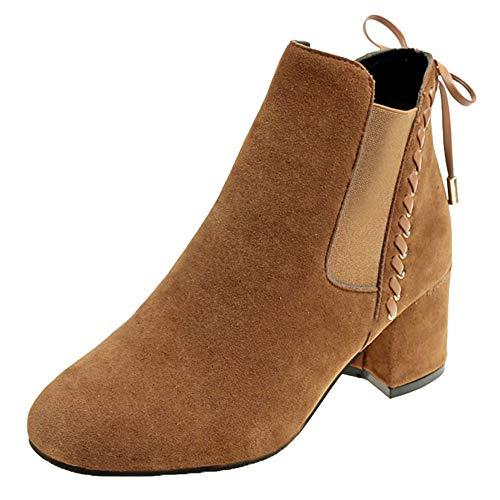 MYMYG Damen Boots Ankle Boots mit Halbhohe Blockabsatz -