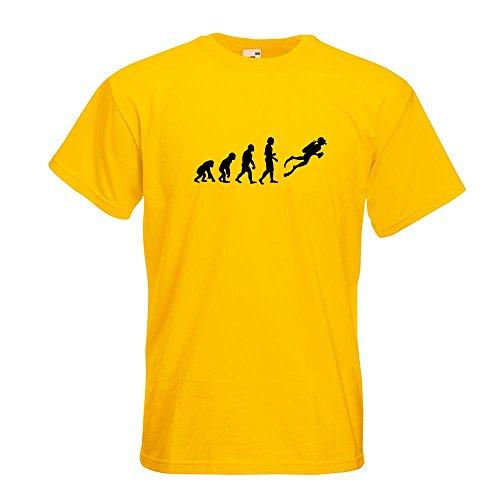KIWISTAR - Evolution Taucher Schnorcheln T-Shirt in 15 verschiedenen Farben - Herren Funshirt bedruckt Design Sprüche Spruch Motive Oberteil Baumwolle Print Größe S M L XL XXL Gelb