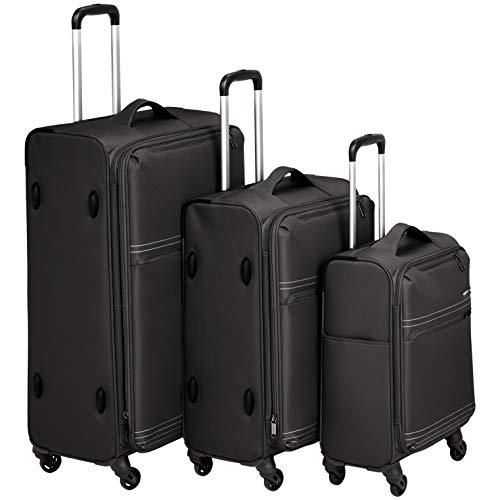 AmazonBasics - Trolley da viaggio morbido e leggero, Set da 3 pezzi (56 cm, 69 cm e 81 cm), Nero