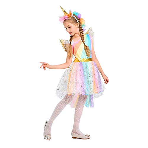 Flügel Pegasus Kostüm - Yobooom Einhorn Kostüm Halloween Festliches Prinzessin Blumenmädchenkleid Ballkleid Kleid für Mädchen Einhorn Cosplay Kostüm Partykleid mit Haarreif Flügel S