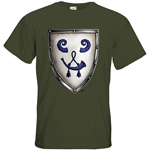 getshirts - Das Schwarze Auge - T-Shirt - Die Siebenwindküste - Wappen - Bockshag Khaki