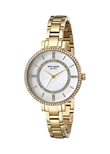 Kate Spade Women's 34mm Gold Plated Bracelet Gold Tone Steel Case Quartz MOP Dial Analog Watch 1YRU0692