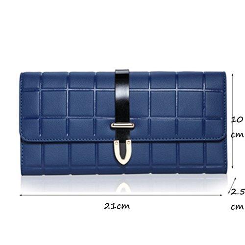 CLOTHES- Sacchetto di borsa dellinarcamento della borsa del raccoglitore del cuoio della signora della borsa Sezione lunga Semplicità di svago Borsa di multi-card di capacità elevata ( Colore : Blu ) Blu