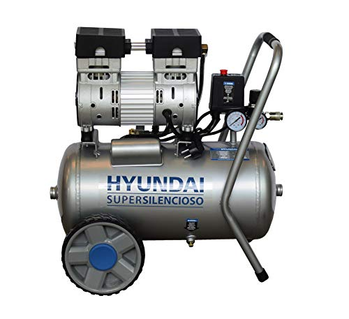 HYUNDAI Silent Kompressor SAC55752 (Druckluftkompressor, ÖLFREI, Flüsterkompressor mit 59 dB(A), 24 l Druckbehälter, 8 bar, 0.75 kW (1.0 PS), Ansaugleistung 125 L/Min)