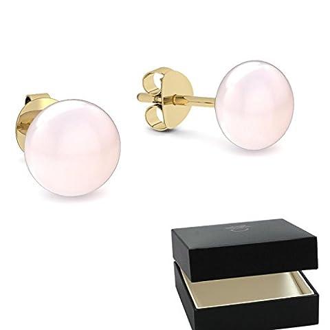 Gold Ohrringe Süßwasser Perle rosé hochwertig vergoldet! + inkl. Luxusetui