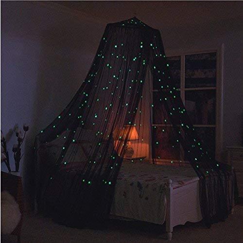 loonju Glowing Moskitonetz Dome Betthimmel mit Sternen für Kinder Spielen Lesen Schlafzimmer Decor (Schwarz) - Netting-bett Schwarz