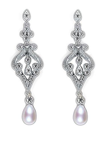 Pendientes diseño palacio estilo Vintage con perla similada y Zircón Cubico estilo diamante chapados en oro blanco