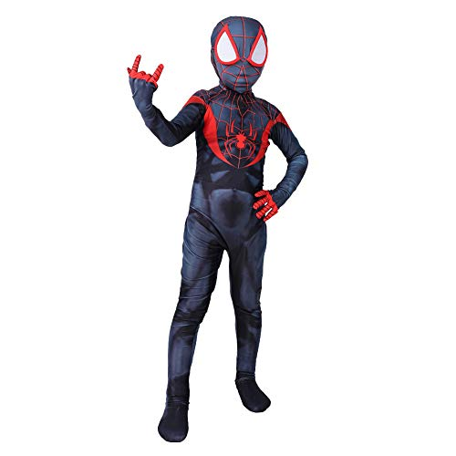 QQWE Spiderman Kinder Cosplay Kostüm Miles Morales Spiderman Rollenspiel Kleidung Kinder Body Spandex Jumpsuits Kostüm,Children-L (Spiderman Morales Kostüm Miles)