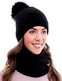 eef849fd15a8ed Hilltop Winter Kombiset mit Schal und passender Strickmütze (Beanie mit  Pompon) in 100%