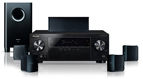 Pioneer HTP-206(B) 5.1 Heimkinosystem mit AV Receiver und Lautsprecher Set (130 W/Kanal, Multiroom, Bluetooth, Dolby TrueHD, 4K UltraHD Durchleitung, Radio, Front USB/Audio in, Eco Mode), Schwarz (Theater Lg Ray Home Blue)