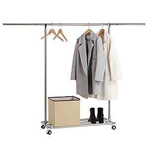 lifewit garderobenst nder mit rollen ausziehbar kleiderstange kleiderst nder stabile. Black Bedroom Furniture Sets. Home Design Ideas