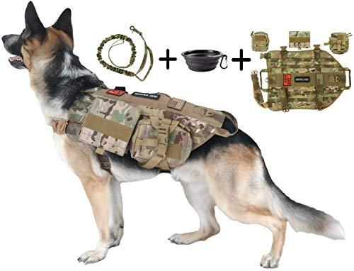 Tri Cloud Sports Dog Tactical Geschirr-1000D Nylon Weste-inkl. 3Beutel, Leine, 3Patches, und klappbar BPA-Frei Schüssel, M, Armee Camouflage - Cloud-schüssel