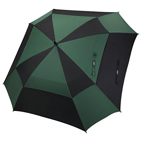 G4Free Paraguas de Golf con Apertura automática de 62 Pulgadas, Doble toldo, Cuadrado, Extragrande, ventilado, Resistente al Viento, Paraguas para Hombres y Mujeres, Negro/Verde Oscuro