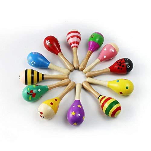 MUROAD Holz Rasseln 4 Tlg. Holz Maracas Kinder Handgefertigten aus Holz Shaker, Musik Rasseln Shaker, Zufällige Farbe Muster