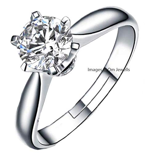 Om Jewells Rhodium Plated Glamorous Adjustable Solitaire Finger Ring Emblished Cz Stone for Girls and Women FR1000946