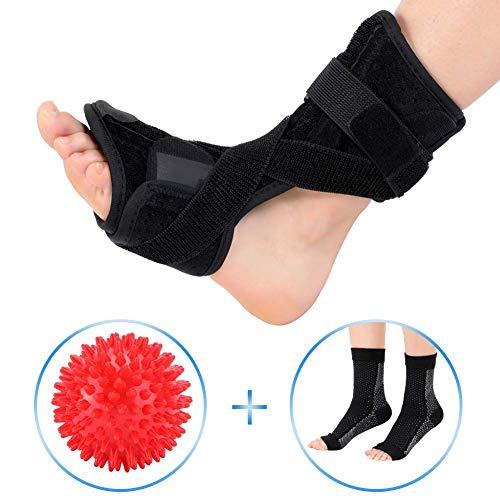 Doact Plantarfasziitis Nachtschiene und Kompressionssocken mit Massage-Ball-Set, Plantar Fasciitis Stützklammer, Orthetischer Fuß-Drop-Brace-Tag für Männer und Frauen, mit Spanngurten -