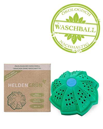 """Heldengrün® Öko Waschball [TESTURTEIL:""""GUT""""] - Waschen ohne Waschmittel - Laborgeprüft & BPA-frei - Bio Waschkugel mit 4-facher Mineralformel und doppelter Magnetkraft - Allergenarm & Antibakteriell"""