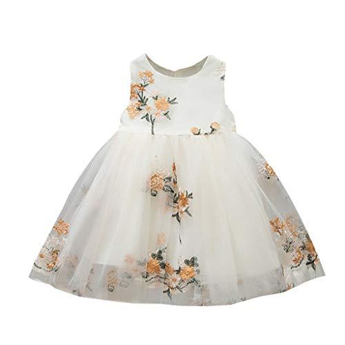 inkind Baby Kinder Mädchen Blumen Tüll Kleid Prinzessin Kleider Party Kleid Kleidung Ärmellose Stickerei Blume Mesh Rock Kleid Prinzessin Kleid Rock ()