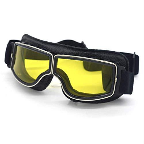 MHSM Gläser Universal Motorrad Vintage Brille Pilot Motorrad Scooter Biker Brille Steampunk Brille Für Gelbe Linse