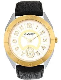 Armbandsur Analog White dial golden & silver case round Watch-ABS0015MBG