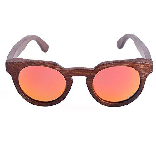 Holz Polarisierte Sonnenbrille Handgefertigte Mode Katze Auge Bambus Gläser Retro Sonnenbrille,Red