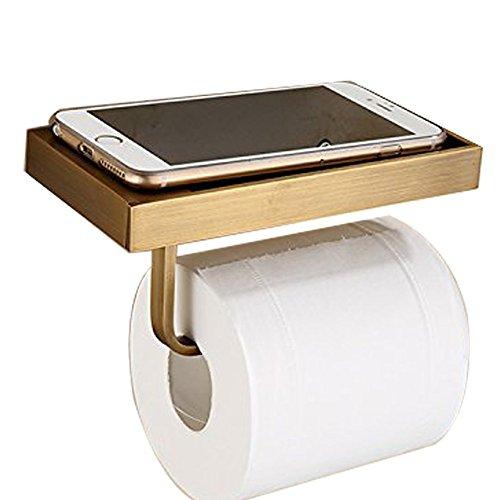 Toilettenpapierhalter, antikes Messing, zur Wandmontage, Papierhalter mit Handyablage für Badezimmer