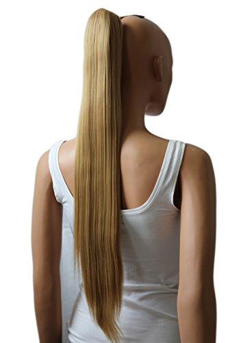 PRETTYSHOP Haarteil Zopf Pferdeschwanz glatt Haarverlängerung hitzebeständig wie Echthaar 70cm honig blond #27H22 H167