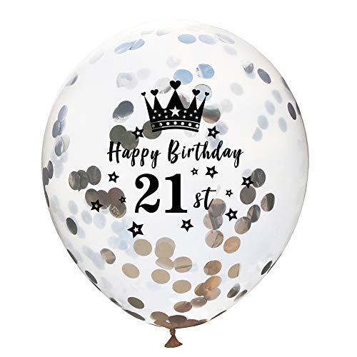 y Party Luftballons Transparente Krone Pailletten Ballon Geburtstagsfeier Luftballons für Frauen, Kinder Baby Mädchen Party. (21st) ()