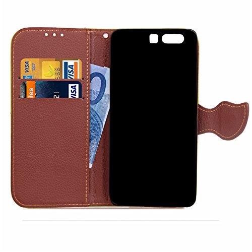 Hülle für Huawei P10 Plus, Tasche für Huawei P10 Plus, Case Cover für Huawei P10 Plus, ISAKEN Blume Schmetterling Muster Folio PU Leder Flip Cover Brieftasche Geldbörse Wallet Case Ledertasche Handyhü Blattwerk Pink