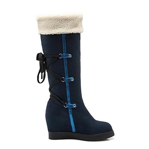 AgooLar Damen Schmirgeln Ziehen Auf Rund Zehe Niedriger Absatz Hoch-Spitze Stiefel Blau