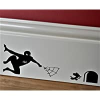 Spiderman Wall Sticker Black Vinyl ..Home ,Office, Skirtings, Windows , Car 6cm x 19cm UKSELLINGSUPPLIERS®