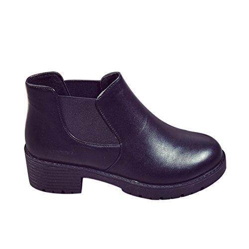 Zapatos de Mujer Botines Botas de Invierno Cuero Botas Calientes Impermeables Zapatos de Invierno Botines de Tacón grueso Cremallera Botas de Trabajo Negro,38EU