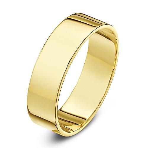 Theia Unisex 9 ct Yellow Gold, Super Heavy Flat Shape, Polished, 7 mm Wedding Ring - Size V