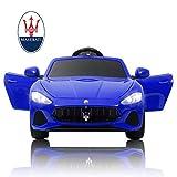mecor Maserati 12V Voiture Electrique pour Enfants avec Télécommande, MP3, lumière, Bleu