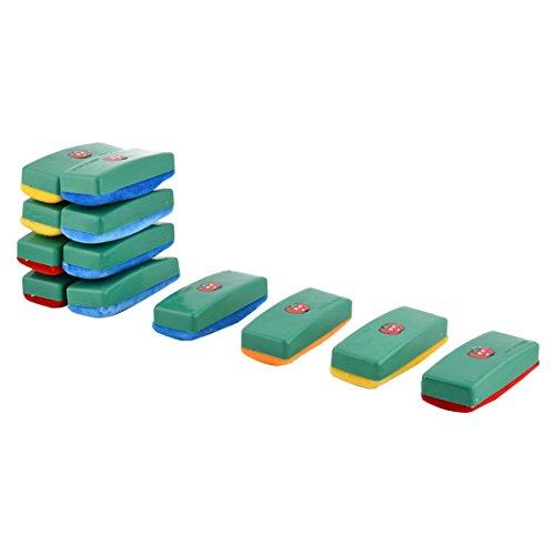 sourcingmapr-12-pz-verde-plastica-alloggiante-velluto-nero-lavagna-cancellino-gesso-pulitore