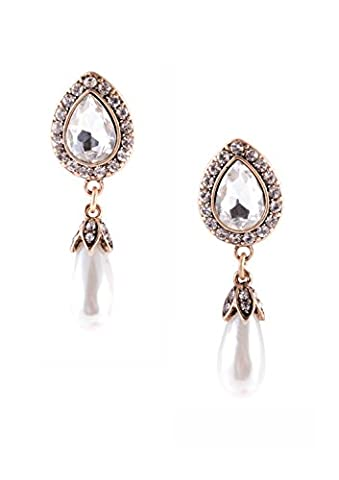 Happiness Boutique Women Pearl Drop Dangle Earrings in White and
