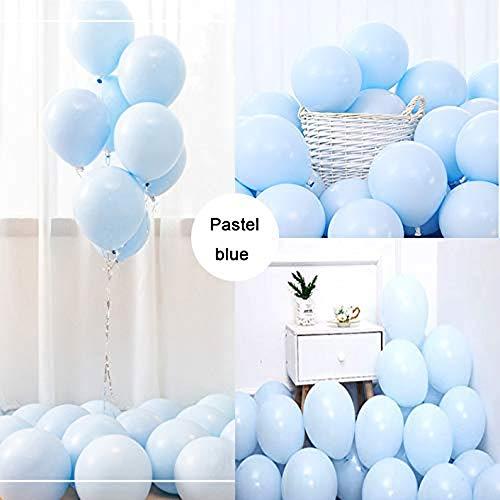 LAKIND Luftballons Pastell Blau 100-Pack 10 Inch Bunte Latex Ballons Luftballons Bunt Latexballons für Hochzeit Weihnachten Geburtstag Luftballon Party Deko(Macaron Blau-100pcs) (Luftballons Blau-silber Und Weiße)