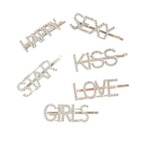 Strass Kiss (Lurrose 6pcs Kristall Bling Buchstaben Bobby Luxury Hair Pins Sparkle Barrettes für Damen Mädchen)