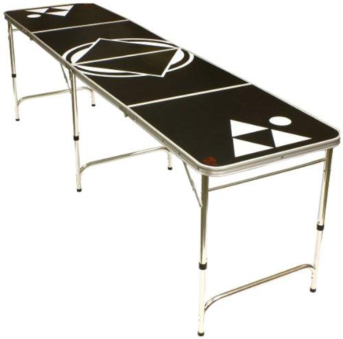 Red Cup Pong Tragbarer Bier-Pong Beirut Spieltisch - 2,4 m lang mit individuellem Flaschenöffner, BPT-BLACKX8, Standard