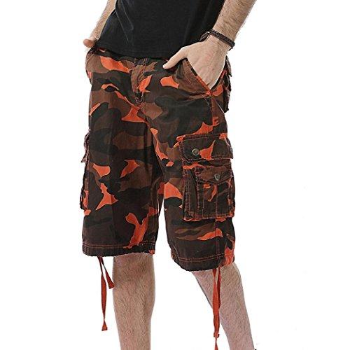 Preisvergleich Produktbild MOIKA Herren Casual Cargoshorts,  Herren Lässige Vintage-Stil-Cargo-Shorts Männer Casual Camouflage Tasche Strand Arbeit Kurze Hosen Cargo Shorts Pant(XXSOrange)