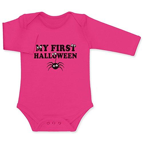 Spider Spinne My First Halloween Gruselig Witzig Baby Langarm Body 6M wow rosa (Wow Halloween Kostüme)