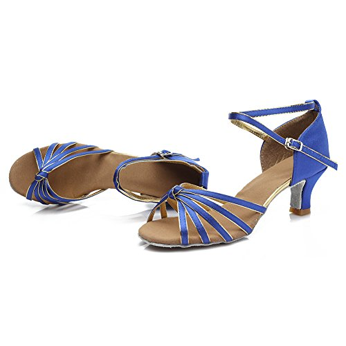 HIPPOSEUS Damen & Mädchen Sandalen Ausgestelltes Tanzschuhe/Ballsaal Standard Satin Latein Dance Schuhe,DE217-5,Blau,EU 39 - 4