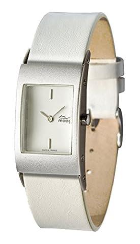 Moog Paris - Dome First Damen Uhr mit Weiß Zifferblatt, Austauschbares Weiß Armband aus Echtem Leder - Hergestellt in Frankreich