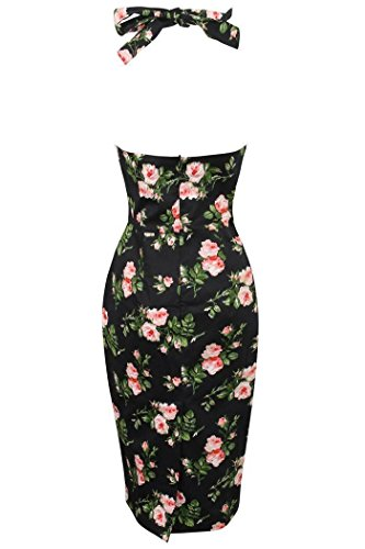Neuf Femmes Rétro Vintage Les Années 1940 Dos Nu Moulant Robe Femme Floral Rose Noir