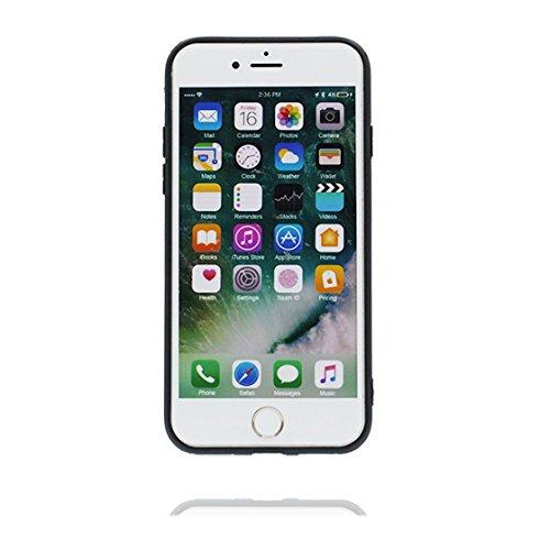 iPhone 7 Copertura,iPhone 7 Custodia,Siluetta morbida del hamburger del coniglio del fumetto 3D[Prova di scossa]case Cover for iPhone 7 4.7-nero nero