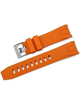 iStrap 22mm Gummi Uhrenarmbänder Armband mit Edelstahl Dornschließe für Omega Seamaster Planet Ocean Orange