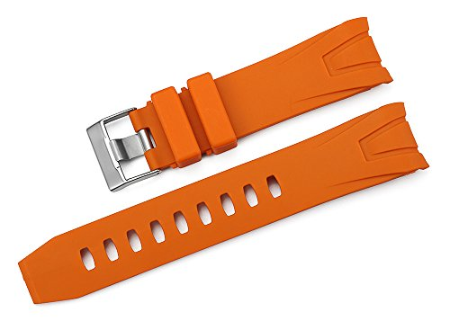 iStrap 22mm Rubber Curved End Band Watch Strap for Omega Seamaster Planet Ocean Orange