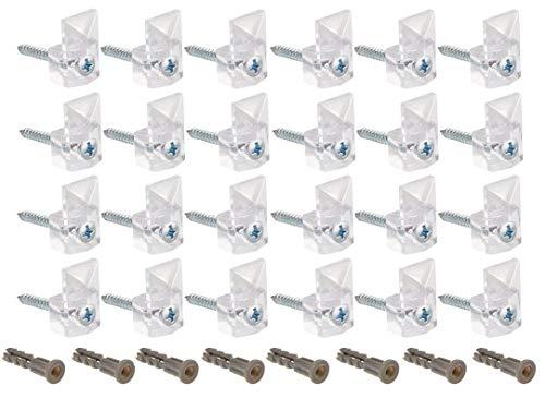 24Stück Spiegel Clips für Wand 20Pfund transparent Spiegel aus Kunststoff Halter Clip Schraube und Anker Mount, modernes, Spiegel Aufhängen Kit 1/10,2cm Zoll 24Stück - Halter Bildschirm Clips