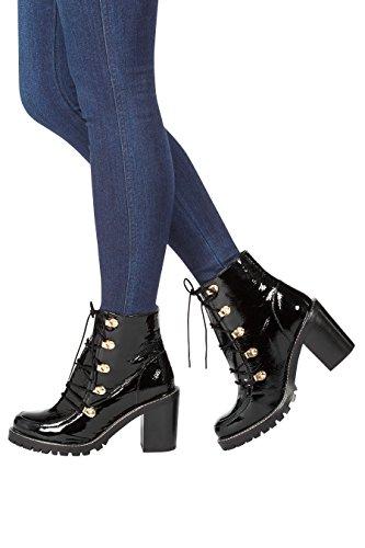 next Femme Chaussures Compensées À Lacets En Cuir Esprit Années 90 Noir